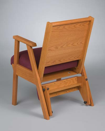 No. 87 Wood Chair with arms and wood kneeler folded up