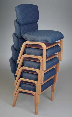 Stacking chairs up to five chairs high