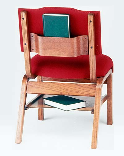 T350B Wood chair with rear mounted bookrack and underseat bookrack