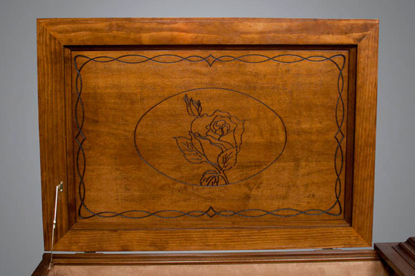 Rose theme panel shown in all stained casket