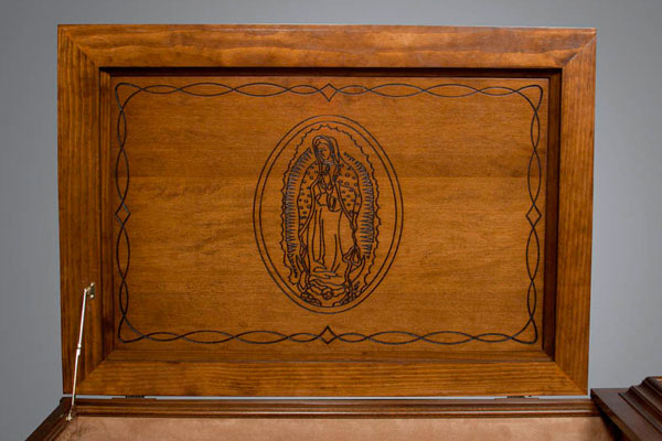 Our Lady of Guadalupe religious theme panel in all stained casket