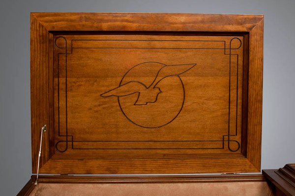 Dove theme panel shown in all stained casket