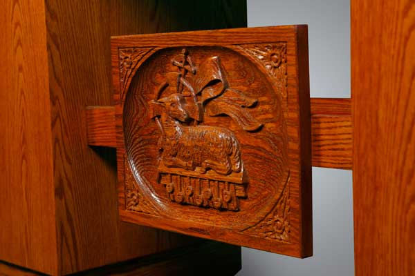 Detailed wood carving for No. 700 Church Altar