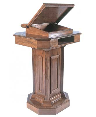 TSP-180 All-stained Pedestal style church pulpit w/open lid